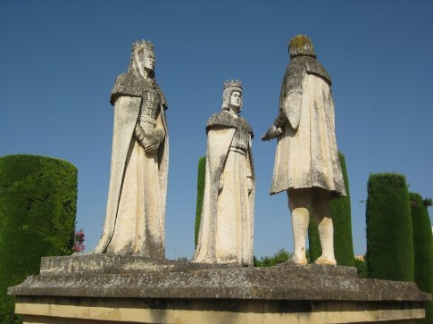 The real King Ferdinand and Queen Isabella with Christopher Columbus.