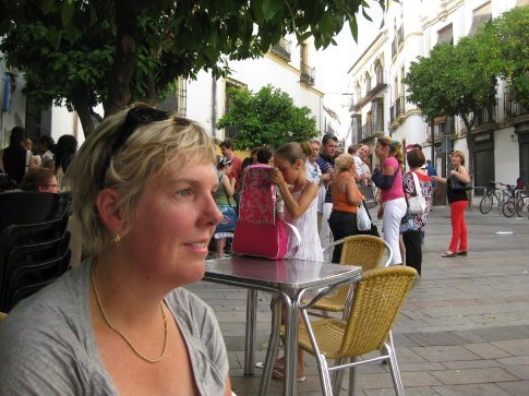 Kathryn pensively watching the action outside the Flamenco school, Cordoba.