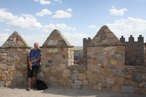 Paul commencing his pilgrimage on the Avila walls. Can you see the delight on his face?