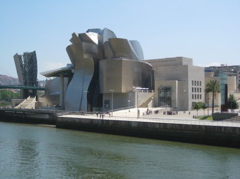 A view of the Guggenheim from a river cafe.