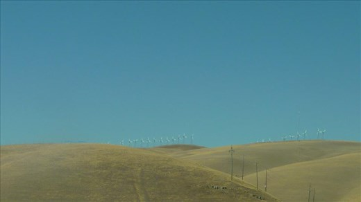 Wind turbines in the middle of nowhere in California.