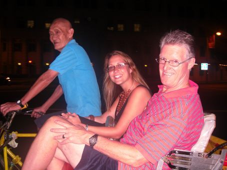 Dad And Hannah,in the tri shaw bike. Heyyyy!!