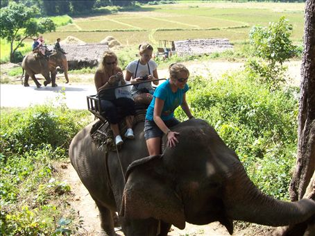 Marscha, Anneloes, and Florence elephant riding