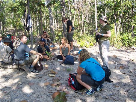 our trekking group resting after an uphill climb on the first day
