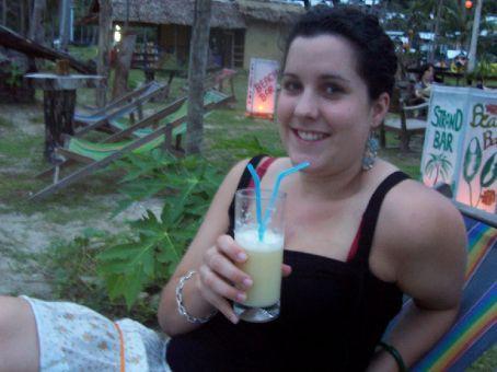 cocktails at a beach bar at sunset