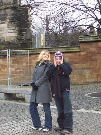 Margaret and Dan, outside the cathedral, boxing day