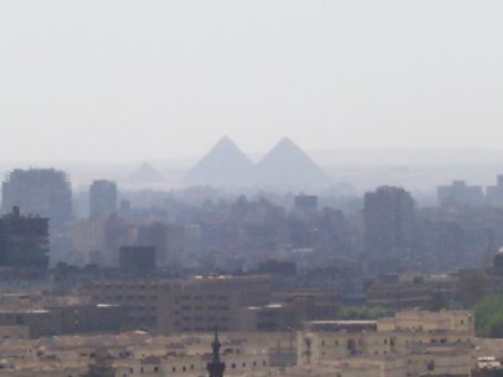 view of  the pyramids from the Citadel roof
