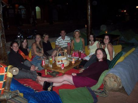 last night with everybody in Dahab. Emma, Michelle, Sarah, Kerryn, Grant, Sally, Lyn, myself and Kate at the Penguin Restaurant