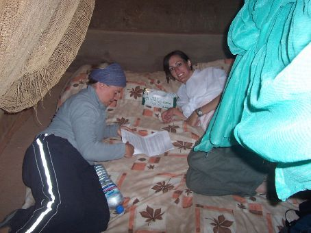 Kerryn and Michelle in our straw hut at wadi rum