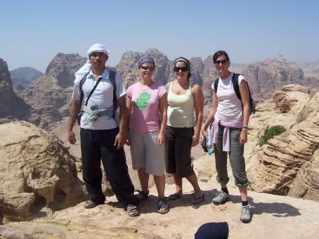 Chris, Kerryn, myself and Michelle at the High Place, Petra