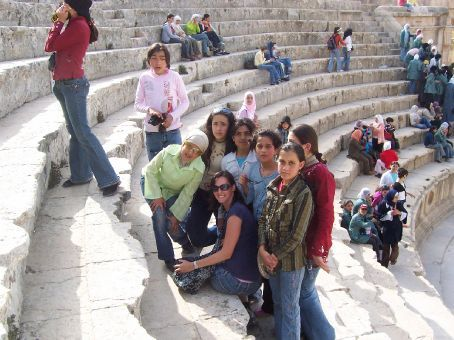 being mobbed by Jordanian schoolgirls at Jerash
