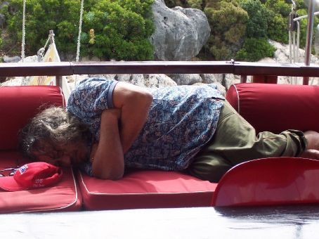 our gulet captain snoring on deck