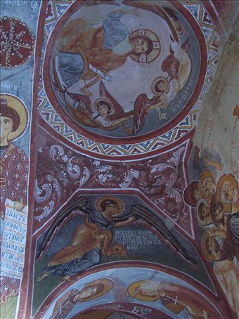 frescoes in a cave church at the open air museum, Goreme