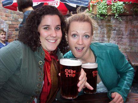 Bridgett and I drinking olde trip cask ale at the Ye olde jerusalem inn, Notts