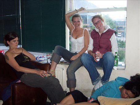 Rachel, Bridgett and Anndrea in the common room