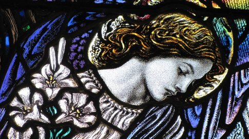 Detail from stained glass window of Parish Church of St James The Less, Pangbourne. One of a few stained glass windows to end up on a Royal Mail stamp