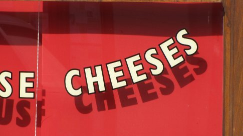 Detail from window of cheese shop, Pangbourne