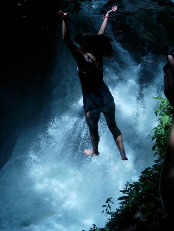 no mom, thats not me jumping off a 4-story waterfall into a misty abyss ...