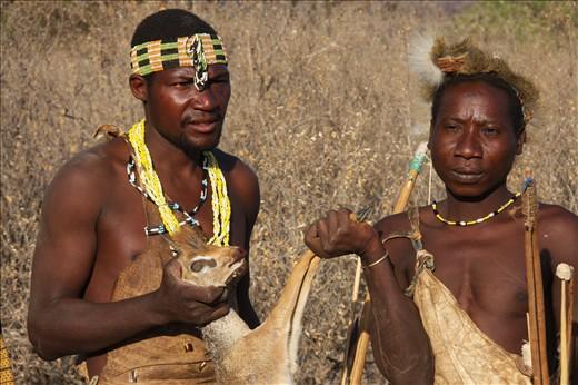 Hadzabe tribesmen of Lake Eyasi region in Tanzania capture Dik Dik .