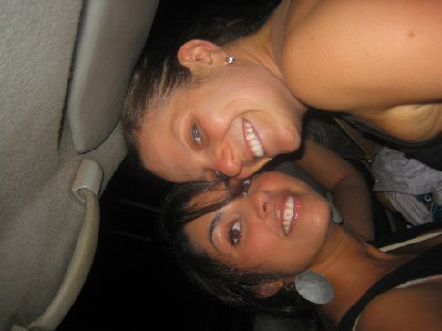 sara sitting on my lap in the cab!!
