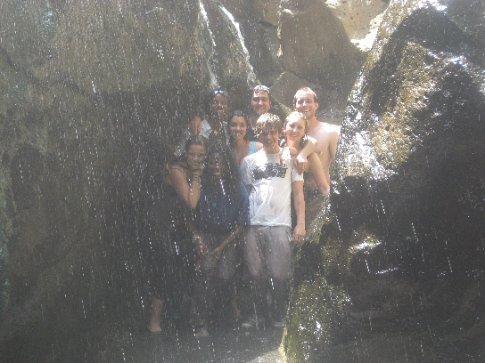 showering under the hot spring
