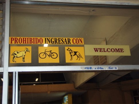 Entrance to the Cuenca bus station.  Don´t even think about bringing your goat!