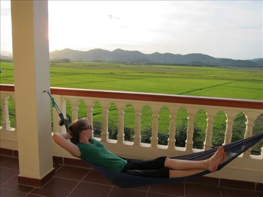 Relaxing after exploring the caves in Phong Nha-Ke Bang National Park