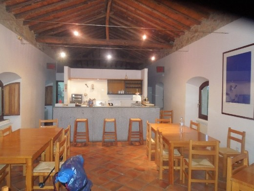 The kitchen and dining building at the Montesoria albergue