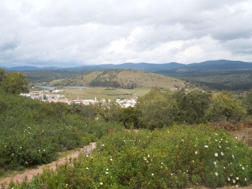 A view of Almaden from the top of a very steep incline littered with shale (which made for a difficult and long ascent).