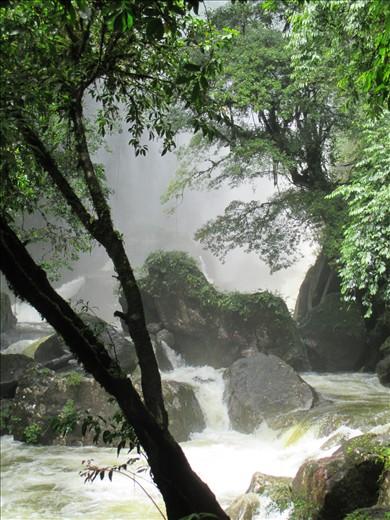 Waterfall lost in the mist near Santa Fe