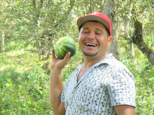 Alex, our horse-riding leader, finds a squash in the bush. dinner!