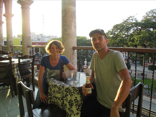 Sunset drinks at Campeche town square