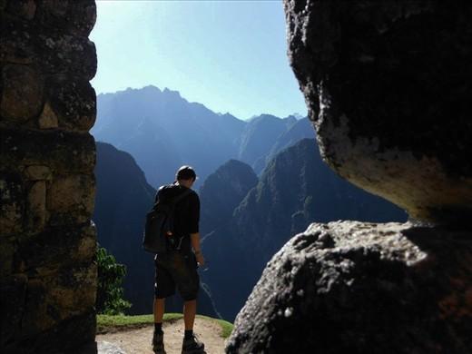 A fellow traveller on Machu Picchu in Peru.