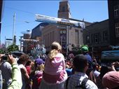 A castle float coming down the road... and a banner for the Harbour Ocean Swim at the top!!: by kiwi_kerry, Views[222]