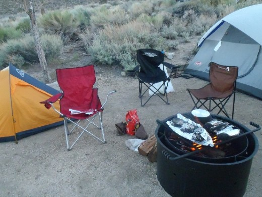 Turkey burgers and my tent