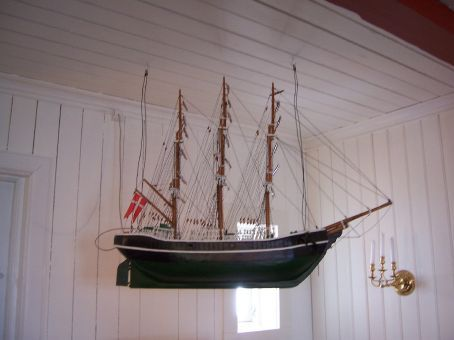 Part of the church was built by the remains of an old ship, much like this one (only that one is a replica)