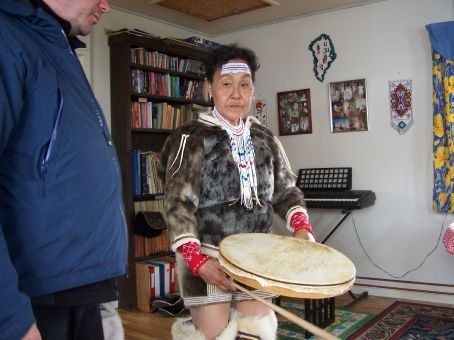 Inuit woman performing the drum dance