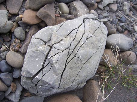 A rock that broke apart because of mass wasting