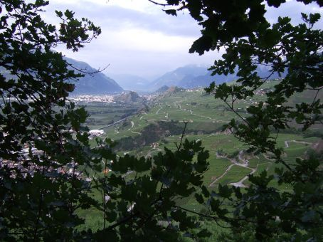 The view of Sion Switzerland from high above St Leonard