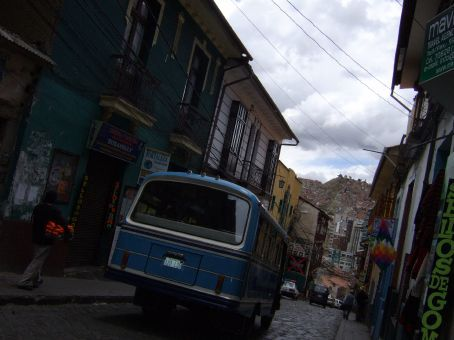 The street of our hotel. La Paz, Bolivia.