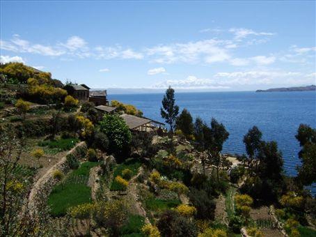 A Inca garden brought back to its original splendor on Isla del Sol, Lake Titicaca, Bolivia