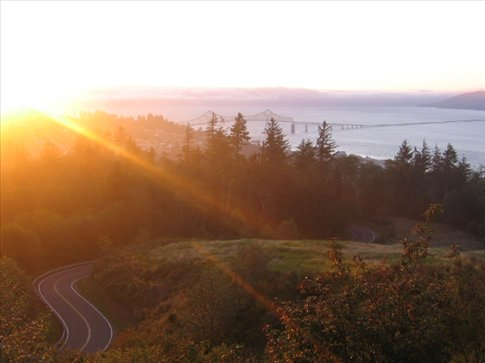 Watching the sunset in Astoria, Oregon before going square dancing!