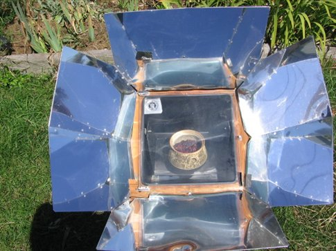 Making berry cobbler in the solar powered oven!