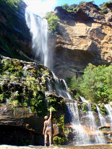 the Blue Mountains, we saw many rainbows here as we stood under these majestic falls