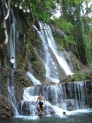 a beautiful waterfall, perfect swimming pool in N. Laos