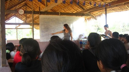 teaching the children at the orphanage about weather and the 4 seasons