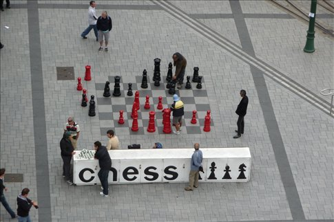 Life sized chess set in Cathedral Square