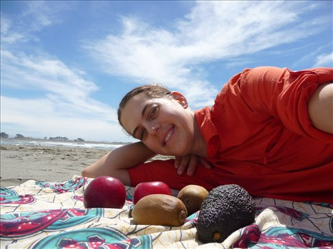 My birthday picture: at the beach with an assortment of tasty in season produce