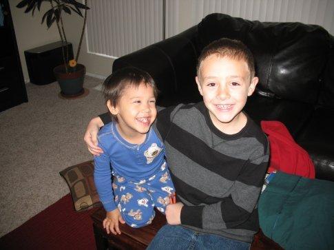 My nephews at home
