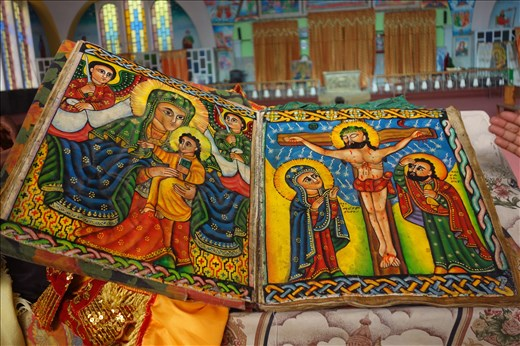 paintings in 500 yr old Bible in new church
